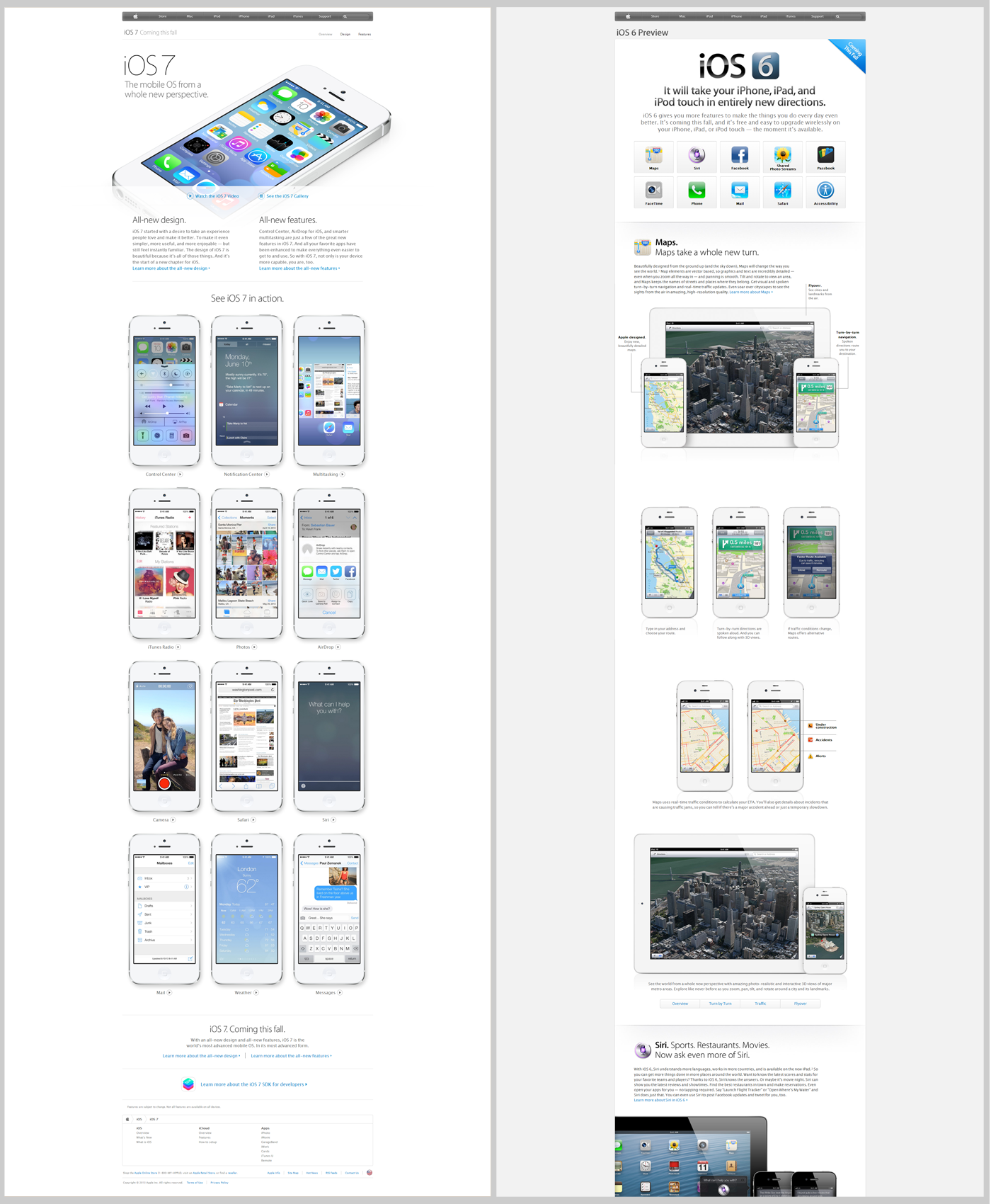 iOS 7 preview page on left (link); iOS 6 preview page on right (link)