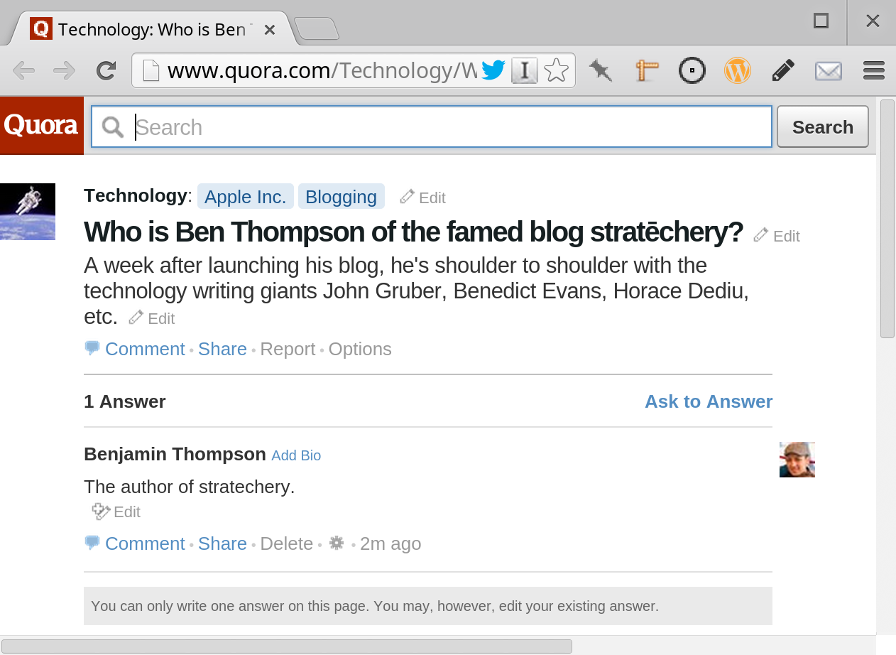 """To be clear, this blog is not """"famed""""! Also, it started on March 25."""