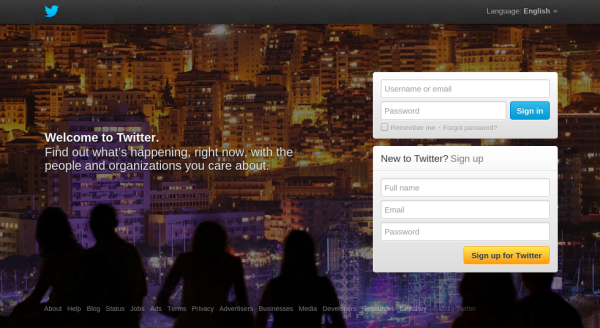 "Twitter's homepage is focused on ""What's Happening"" i.e. Twitter #1"