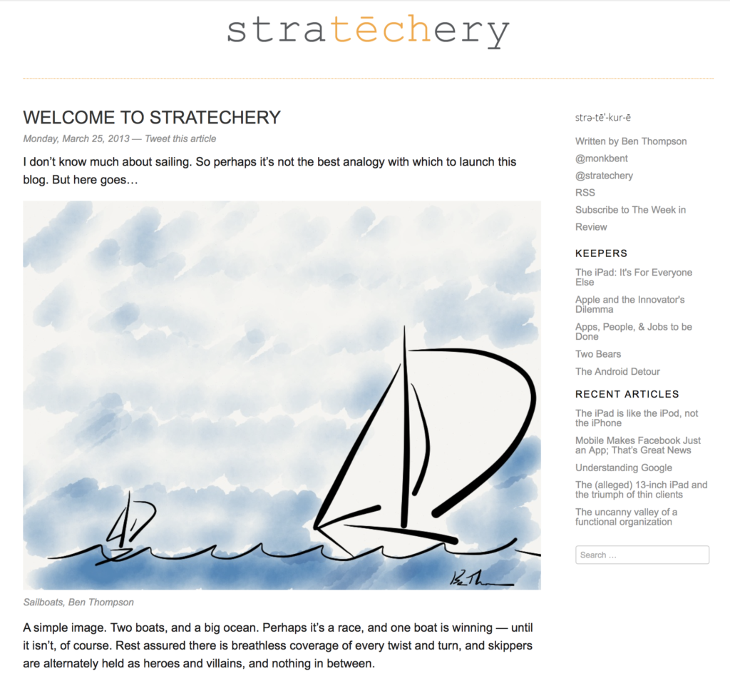 A screenshot of Stratechery 1.0