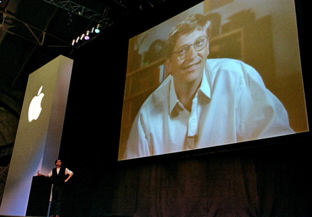 An image from MacWorld Boston when Microsoft invested in Apple