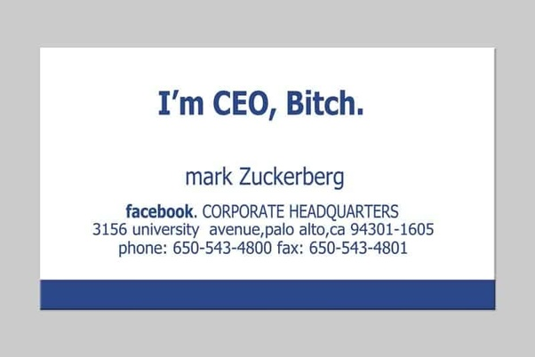 A fictionalized version of Mark Zuckerberg's business card