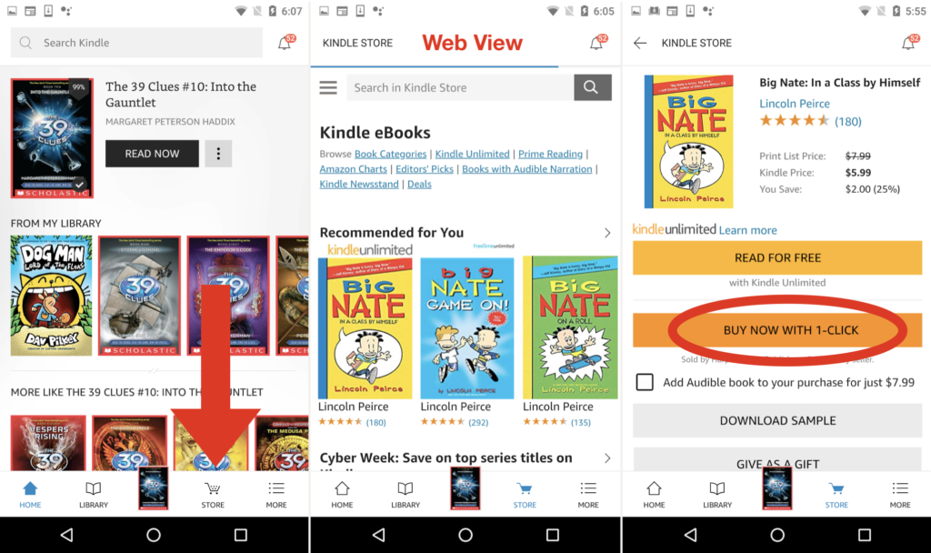 The Kindle app on Android