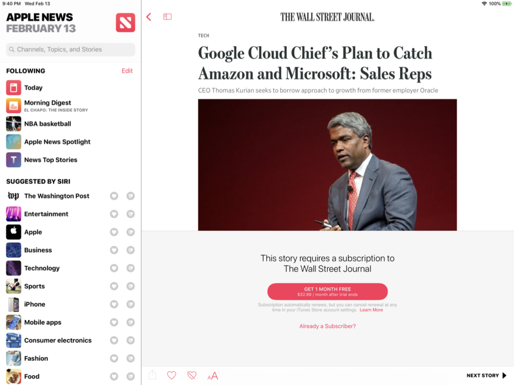 Subscription story in Apple News
