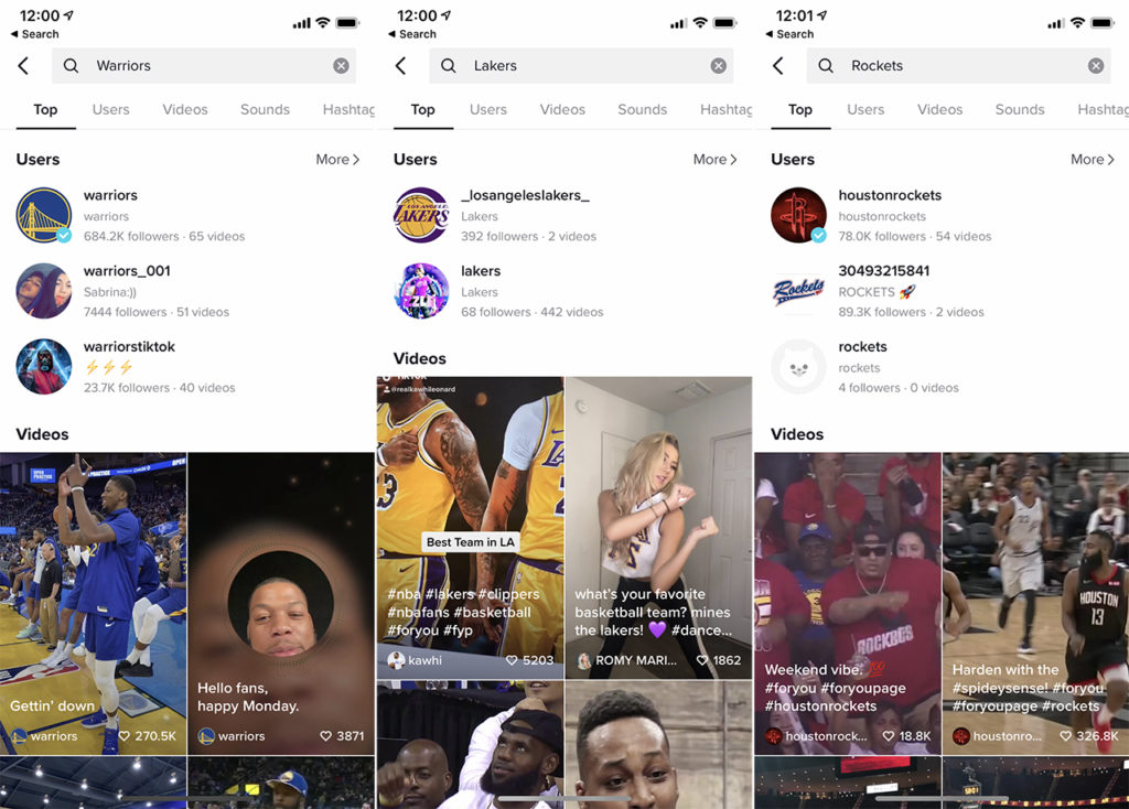 NBA teams in Chinese on TikTok