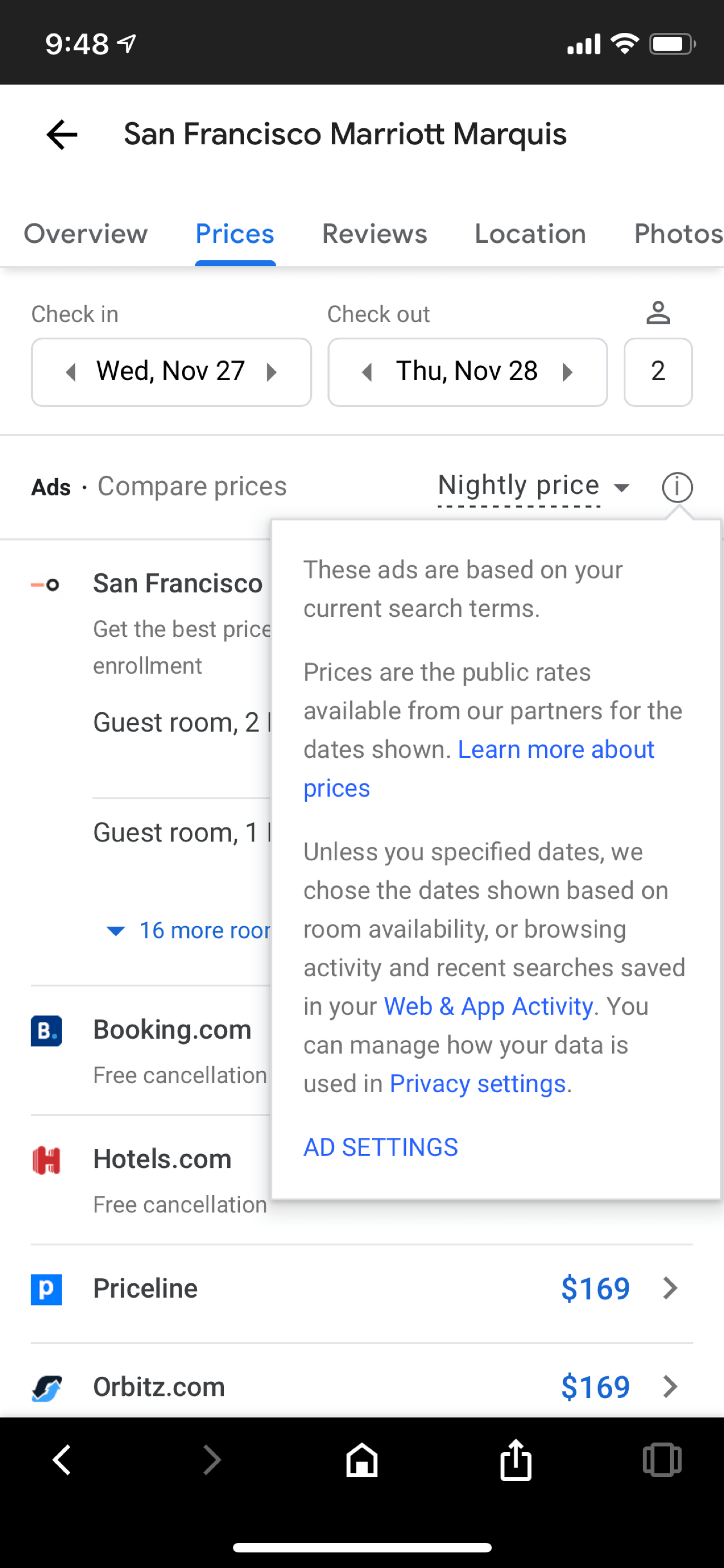 Google hotel module listings are ads