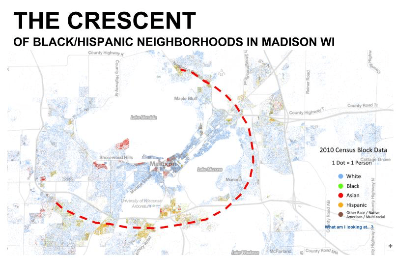 Non-white neighborhoods in Madison form a crescent
