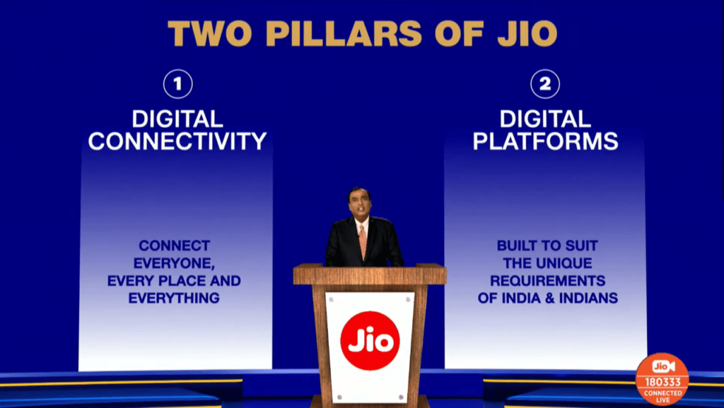 "The ""Two Pillars of Jio"" slide from Reliance's Annual Global Meeting"