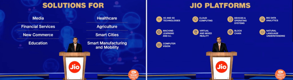 Jio's vision slides from Reliance's Annual Global Meeting