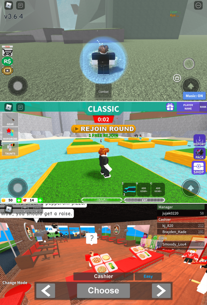 Three Roblox games