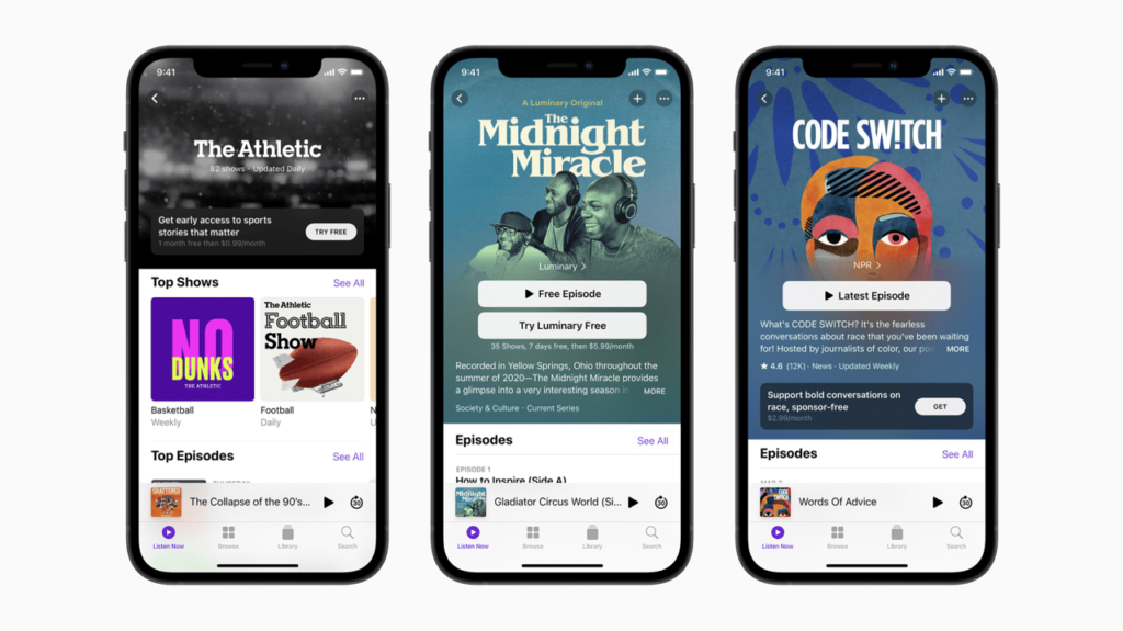 Apple's subscription screen