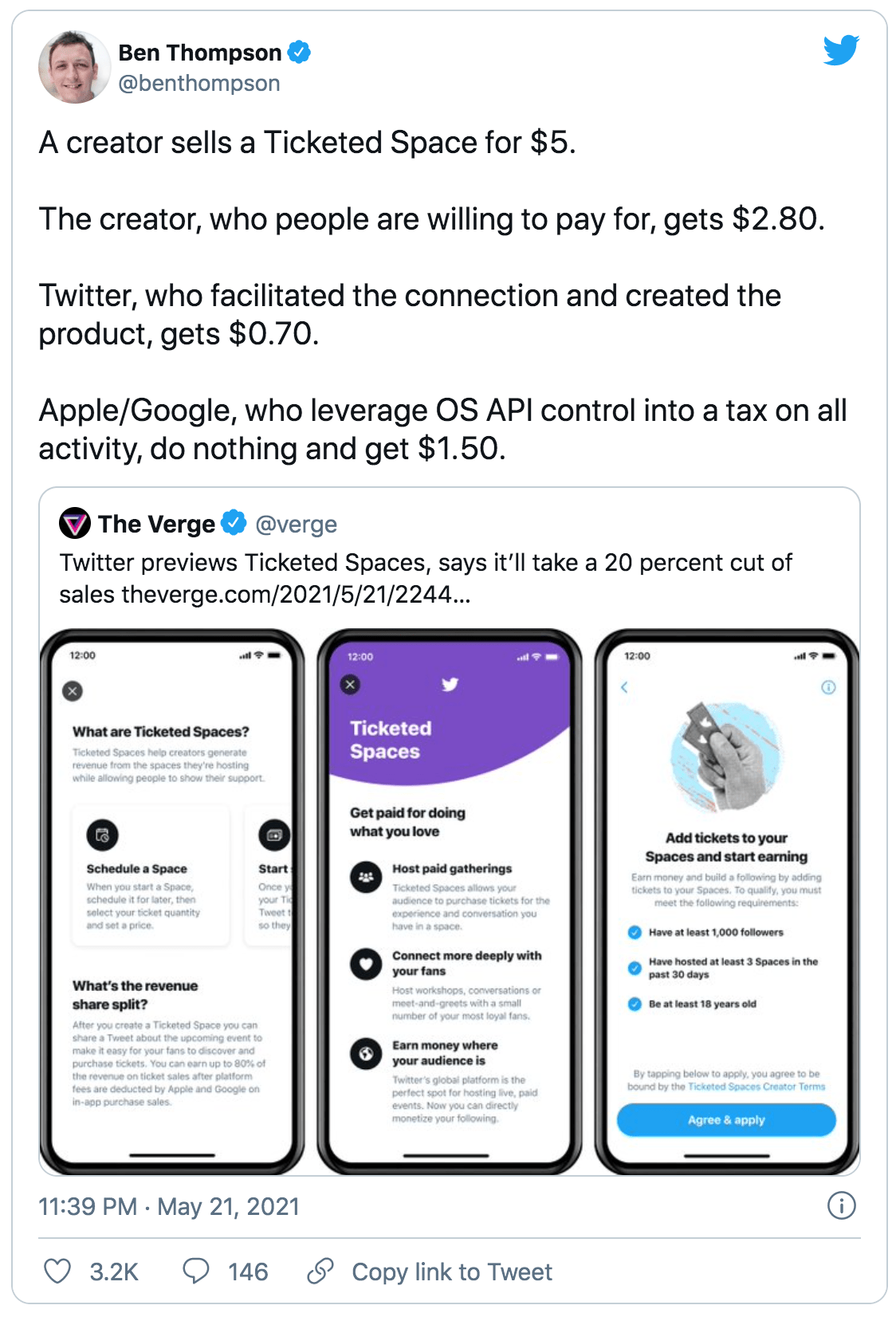 Ben's tweet about how little a creator makes with Twitter's new ticket feature